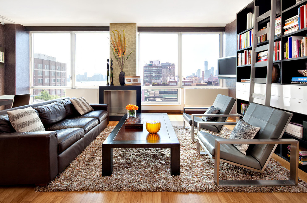 Small Brown Leather Sofa For Apartment (Image 16 of 17)