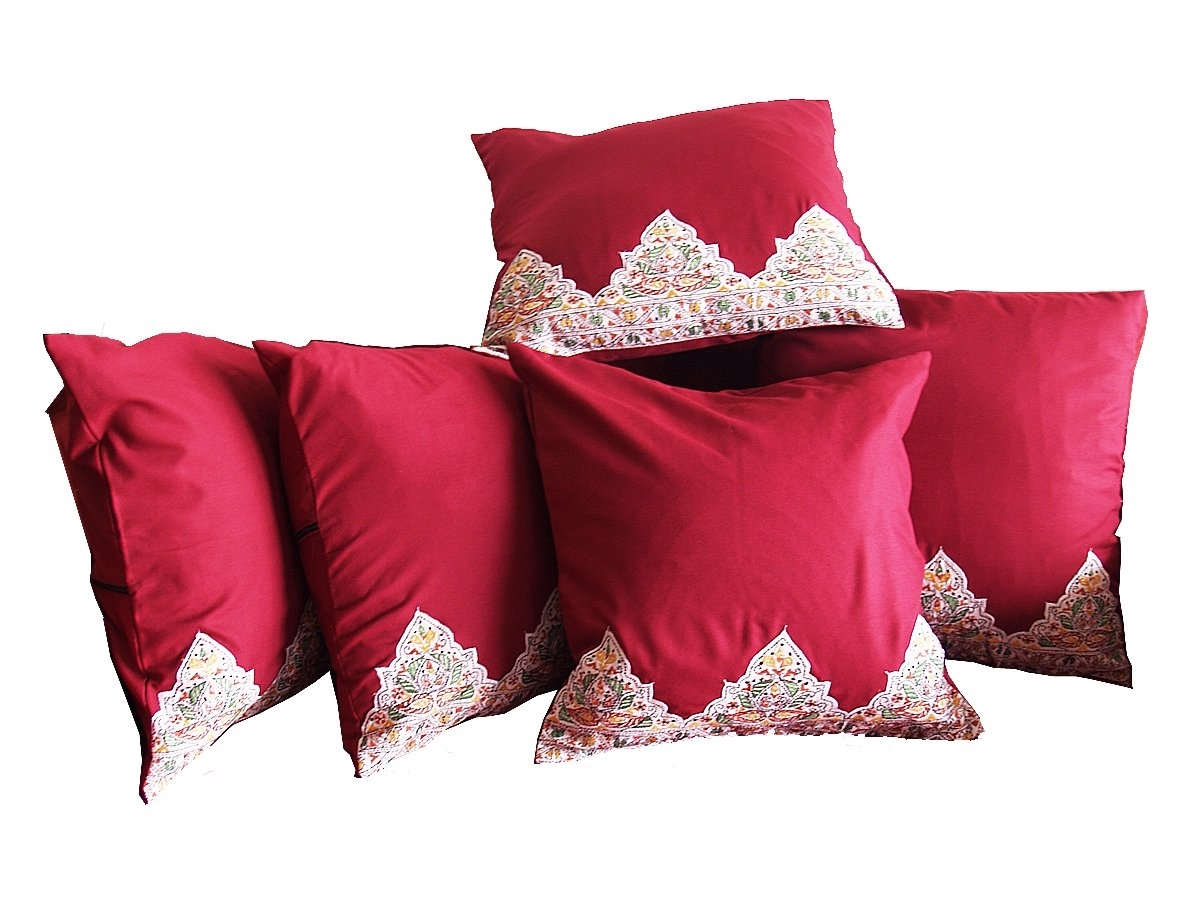 Sofa Pillow Cushions Red Color (Image 19 of 20)