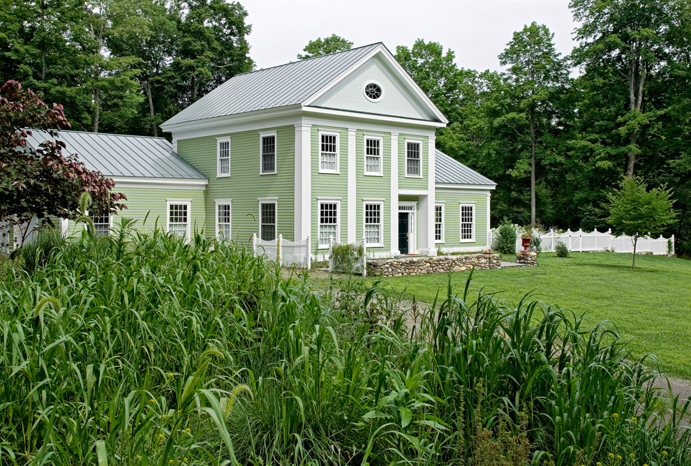 Traditional House Exterior In Soft Green Color (Image 8 of 8)
