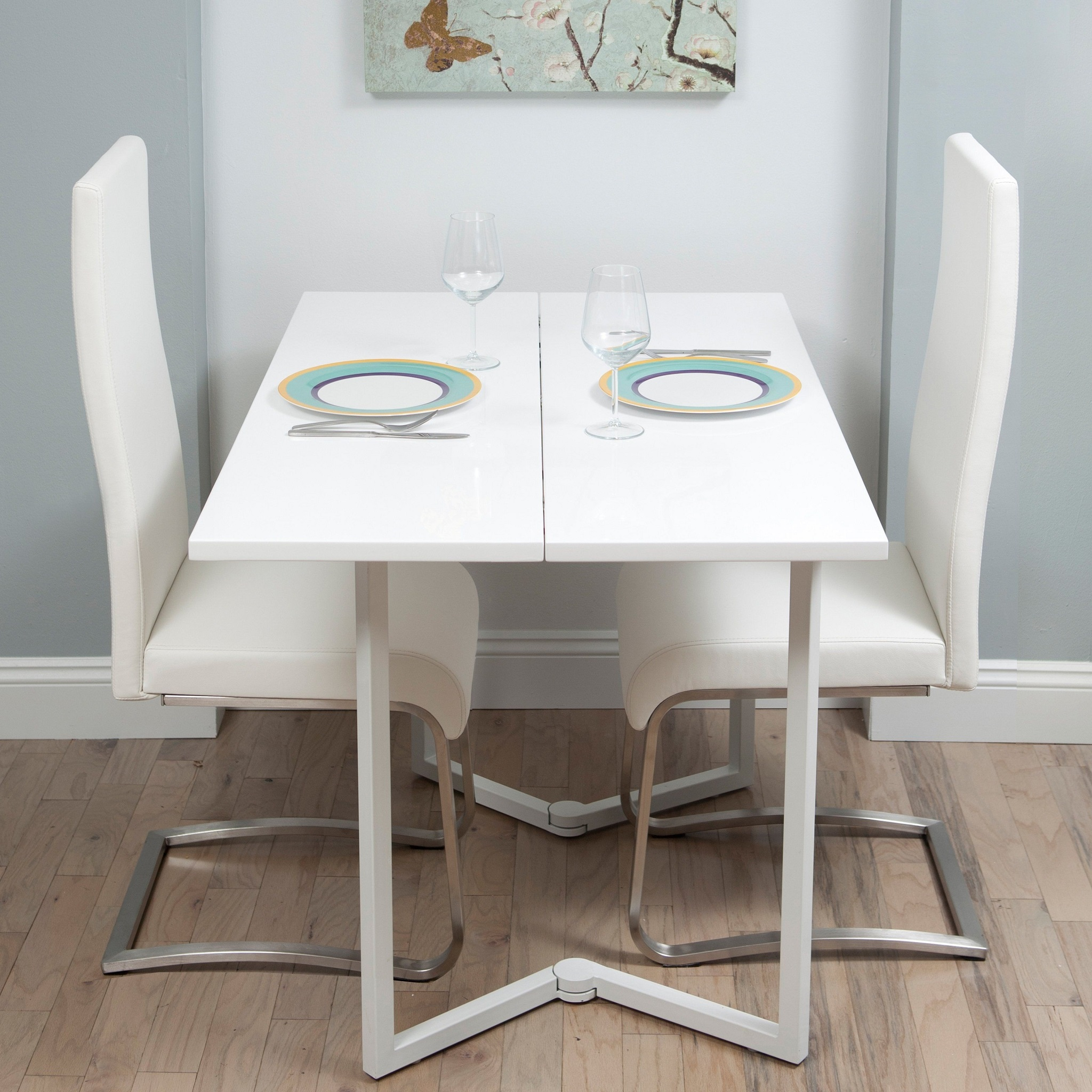 White Stylish Folding Dining Table For Apartment (Image 19 of 20)