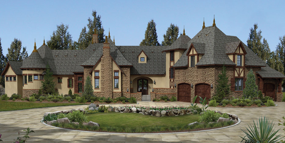 Luxurious european home exterior with vaulted ceilings for European homes