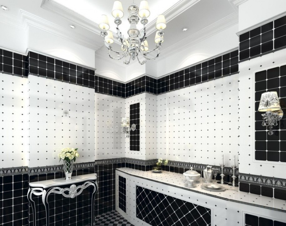 Awesome Black Mosaic Bathroom Design (Image 1 of 9)