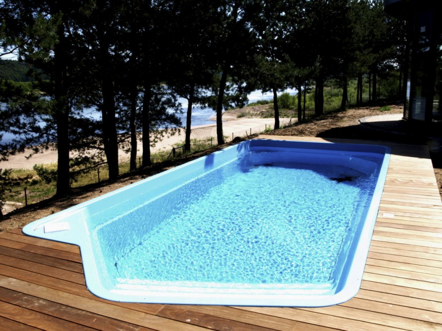 Awesome Wooden Deck Inground Pool. Photo Gallery Of Semi In Ground Swimming  Pool Design ...