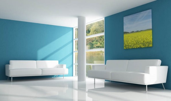 Beautiful Blue Living Room (View 4 of 10)