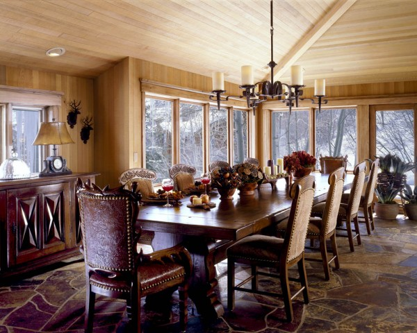 Beautiful Dining Room with Unused Bottle Lighting