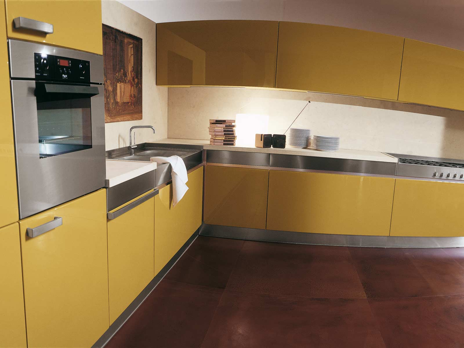 Beautiful Yellow Shelves Kitchen (Image 2 of 8)