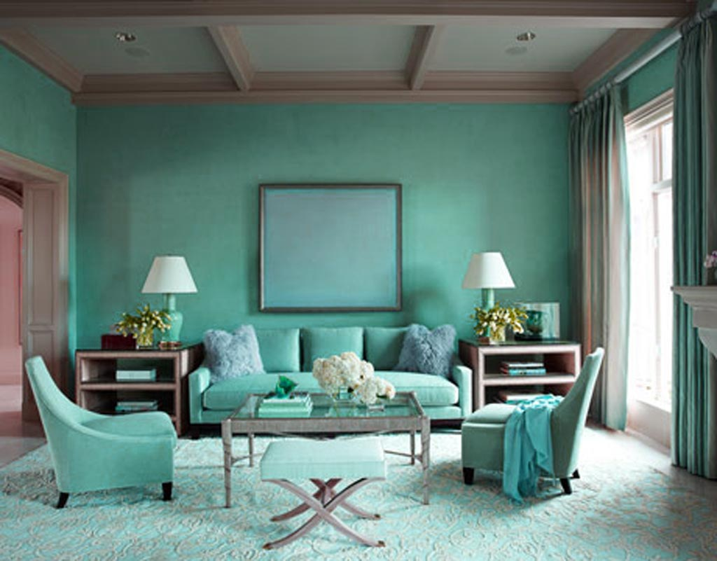 Blue Wall At Living Room Design (View 2 of 10)