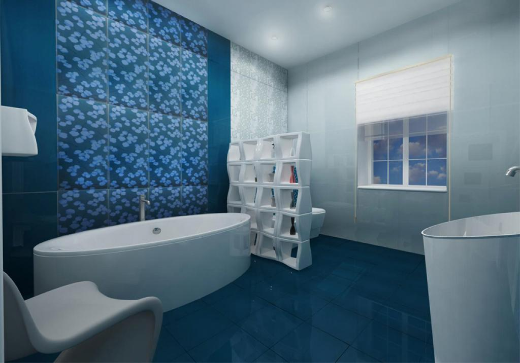 Blue And White Interior Bathroom (Image 2 of 9)