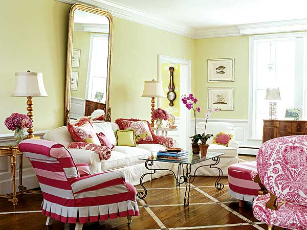 Bright And Bold Pink Living Room (Image 5 of 10)