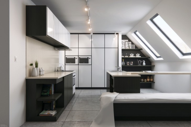 Contemporary Black White Attic Kitchen Design (Image 5 of 10)