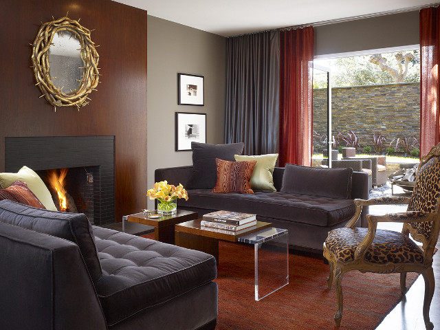 Contemporary Guest Room With Fireplace (Image 1 of 10)