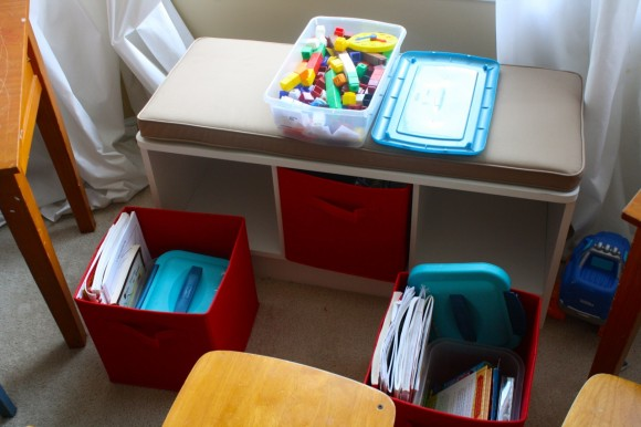 Cubby Bench Homeschool Storage (Image 4 of 10)