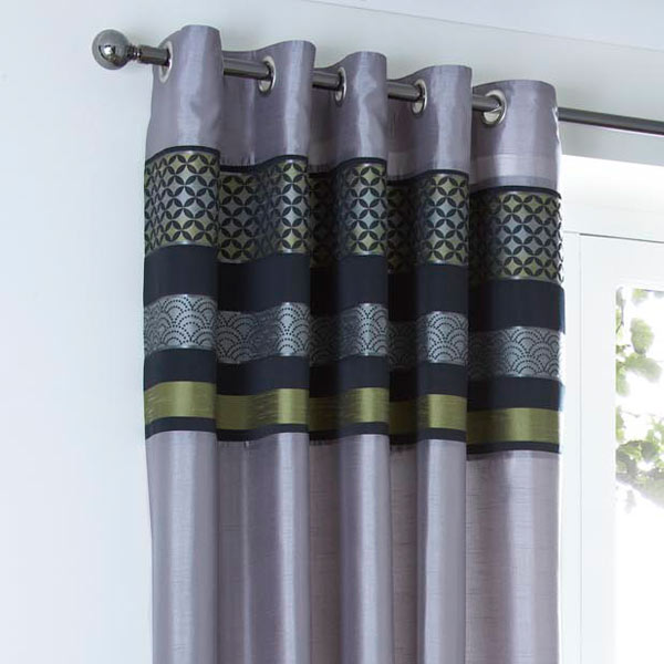 Curtina Newton Geometric Panel Faux Silk Eyelet Lined Curtains (Image 5 of 10)