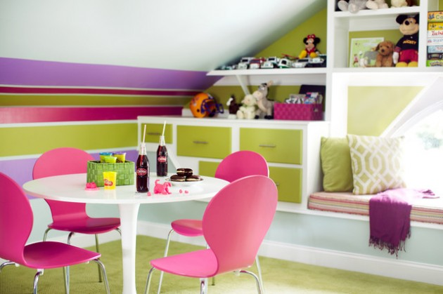 Cute Decoration Of Kids Play Room On The Attic (Image 5 of 10)