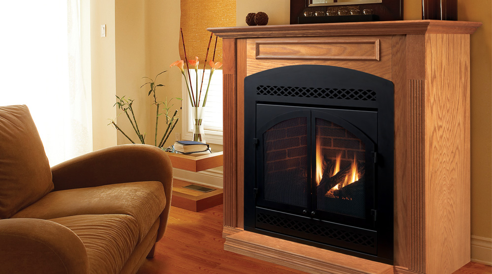direct natural gas fireplace at home