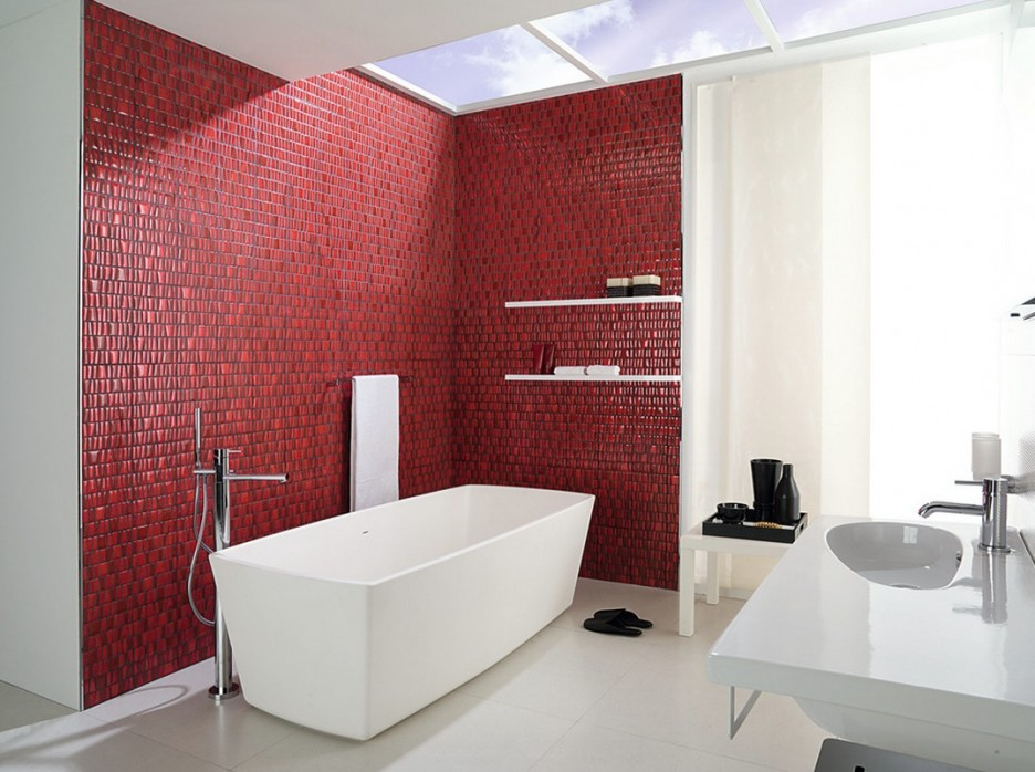 Elegant Maroon Mosaic Bathroom (Image 3 of 9)