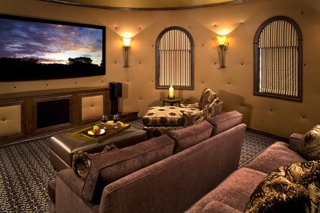 Mediterranean Theater Room On Second Floor Interior Design (Image 5 of 10)