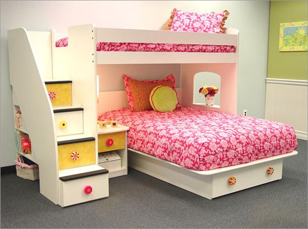 Minimalist Bunk Bed Children Bedroom Furniture With Pink Flower Pattern Bed Cover (View 7 of 10)
