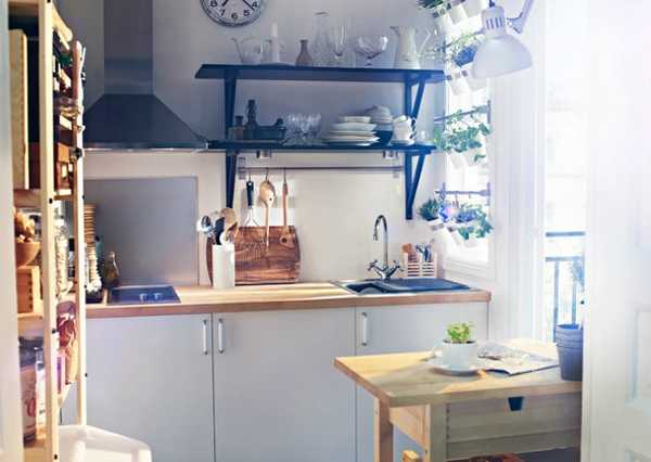 Modern Blue For Small Kitchen With Wood Wall Shelves (Image 4 of 8)