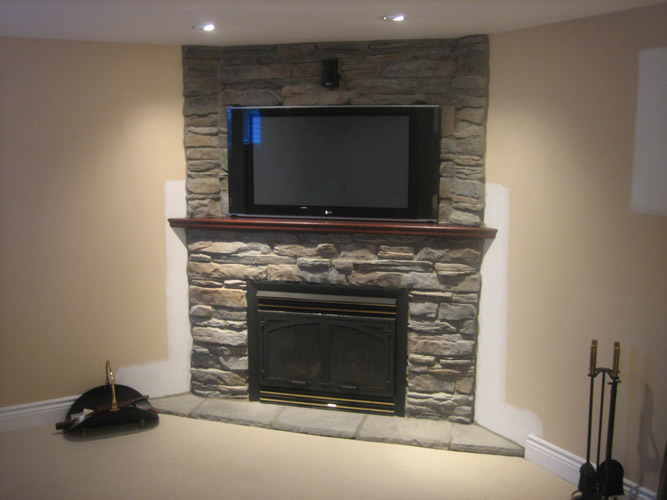 Modern Fireplace With Stone Veneer (Image 6 of 10)