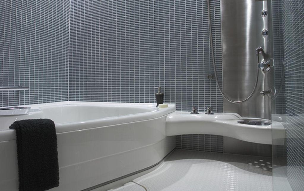 Mosaic Shower Wall Ideas: Color Decorative Mosaic Bathroom Interior #1386