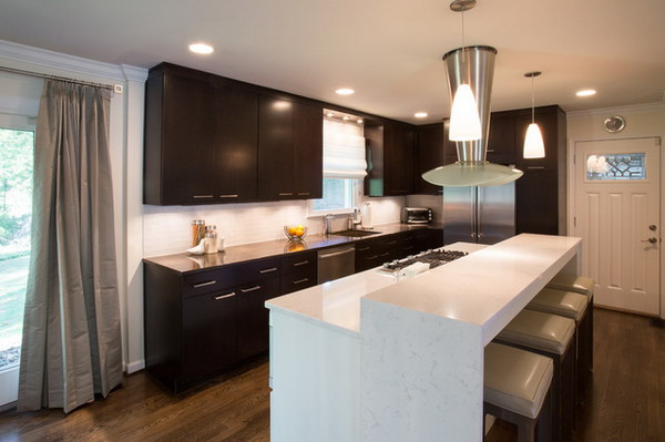ModernKitchen Design With White Kitchen Breakfast Bar (Image 8 of 10)