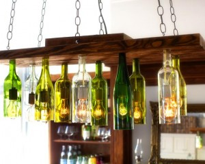 Orginal Chandelier Made From Wine Bottles