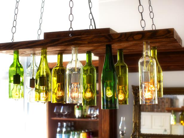 Orginal Chandelier Made From Wine Bottles (Image 9 of 10)