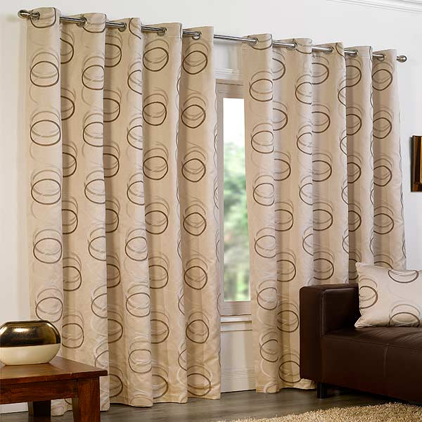Quebec Circle Print Eyelet Lined Curtains (Image 9 of 10)