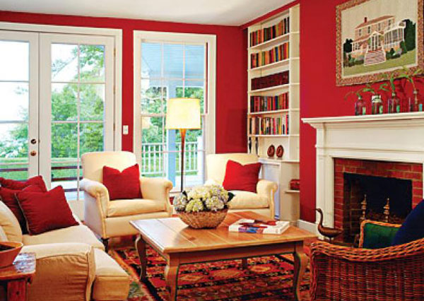 Red Living Room With Cream Sofa (Image 10 of 10)