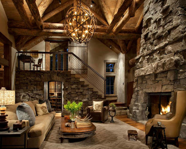 Rustic Living Room Decoration With Unique Furniture (View 2 of 10)