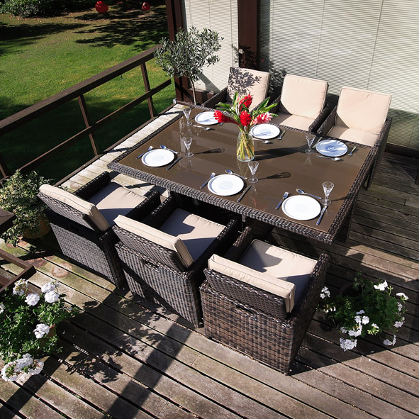 Garden Furniture 6 Chairs rattan 6 seater garden furniture - aralsa