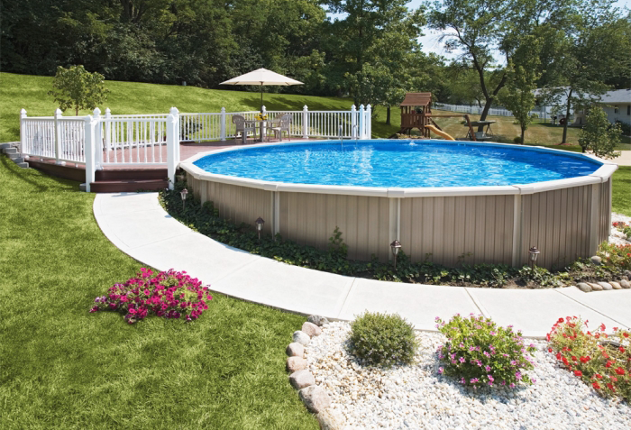 Semi In Ground Pool And Deck Ideas (Image 8 of 10)