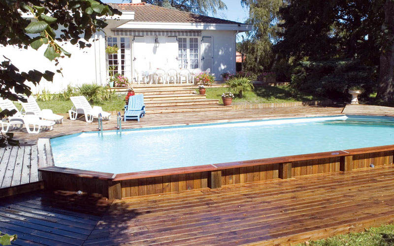 Great Semi Inground Pool Wooden Deck White Blue Lounge Design (Image 4 of 10)