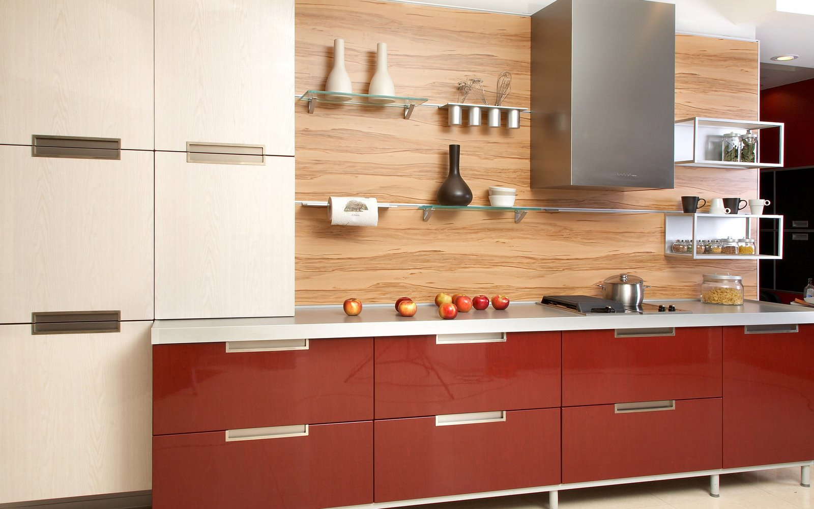 Glossy Red Kitchen Cabinet Glass Floating Shelves Italian Kitchen Design (Image 3 of 8)