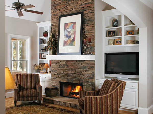 Featured Image of Modern Fireplace With Stone Veneer