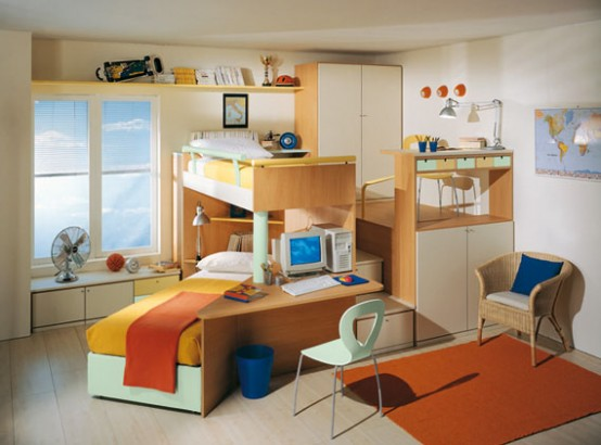 Small Kids Bedroom With Colorful Furniture (View 9 of 10)