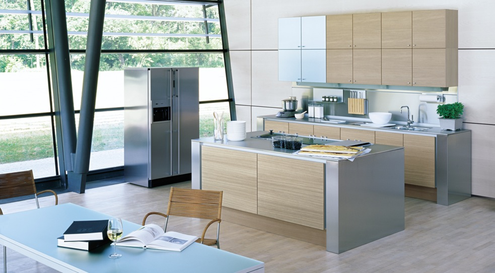 Spacious Kitchen Plan Wood Stainless Steel (View 3 of 10)