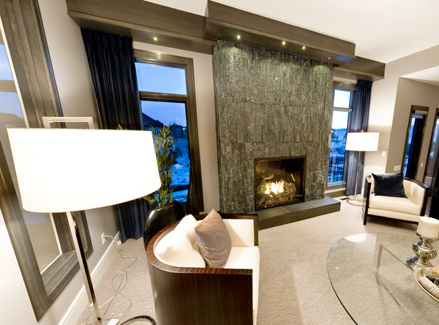 Stacked Stone Veneer Mid Century Modern Fireplace (Image 10 of 10)