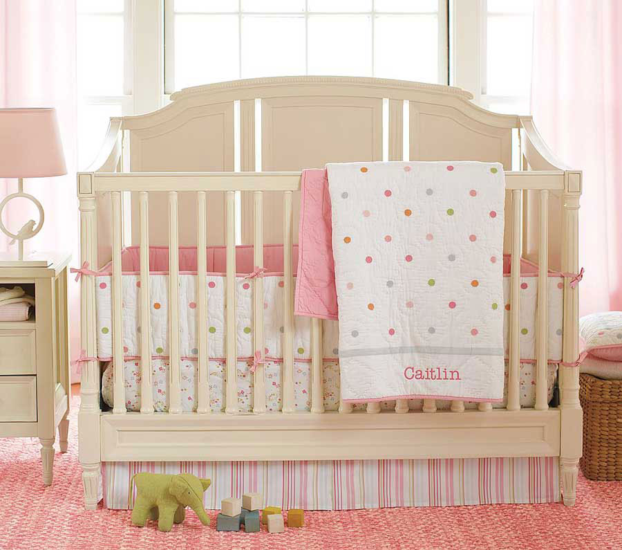 Sweet Baby Cribs Design Ideas With Elegant Shaped And Chic Pink White Polka (Image 9 of 10)