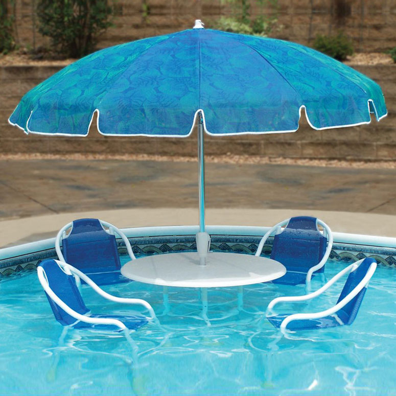 Swimming Pool Patio Table Set On Side Of Swimming Pool (Image 7 of 8)