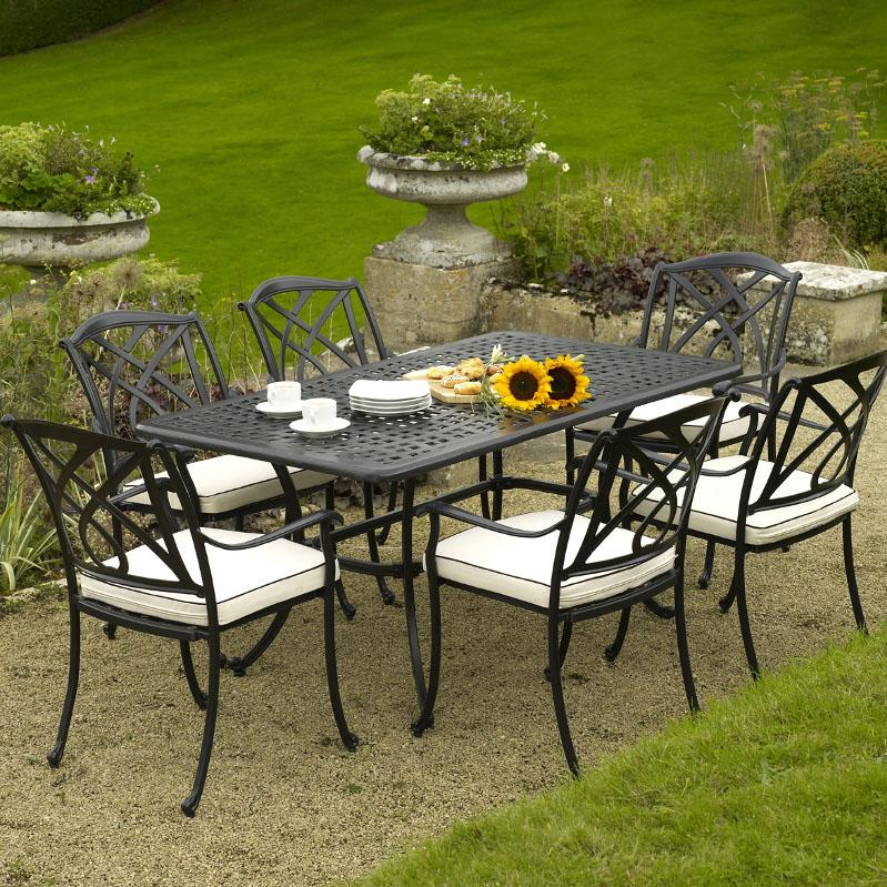 Valencia Rectangle Cast Aluminum Outdoor Furniture Set (Image 12 of 14)