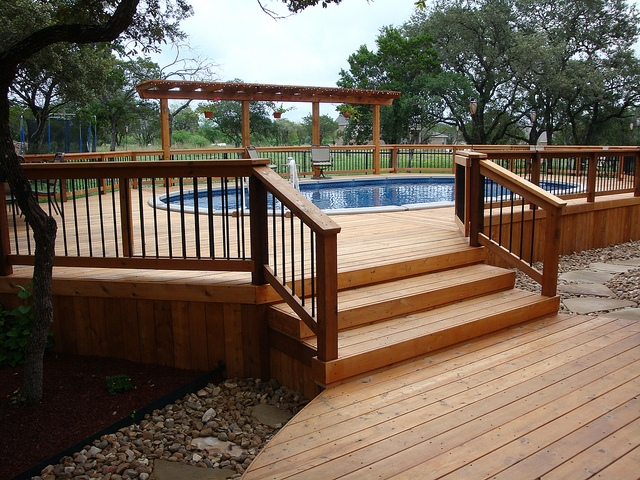 wooden deck ideas for above ground pool | Why You Have To Choose Above Ground Pool Stairs? #2175 ...