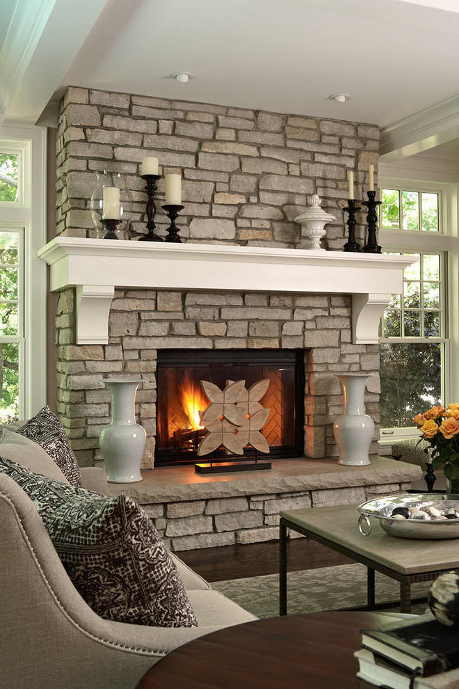 2015 Modern Living Room With Stone Fireplace (Image 1 of 12)