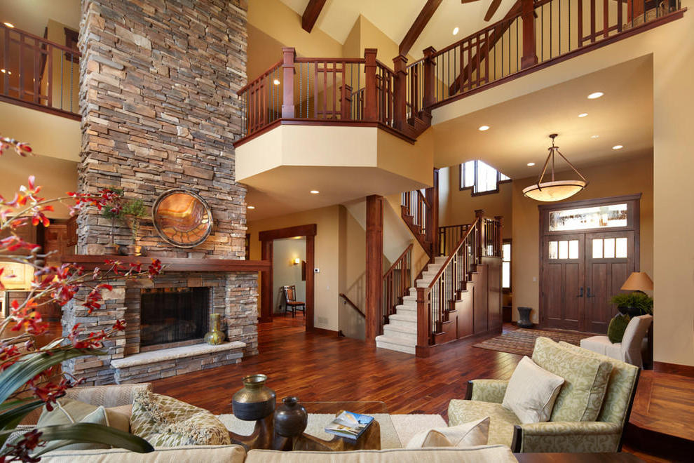 Beautiful House Interior Layout With Stone Fireplace (Image 2 of 12)