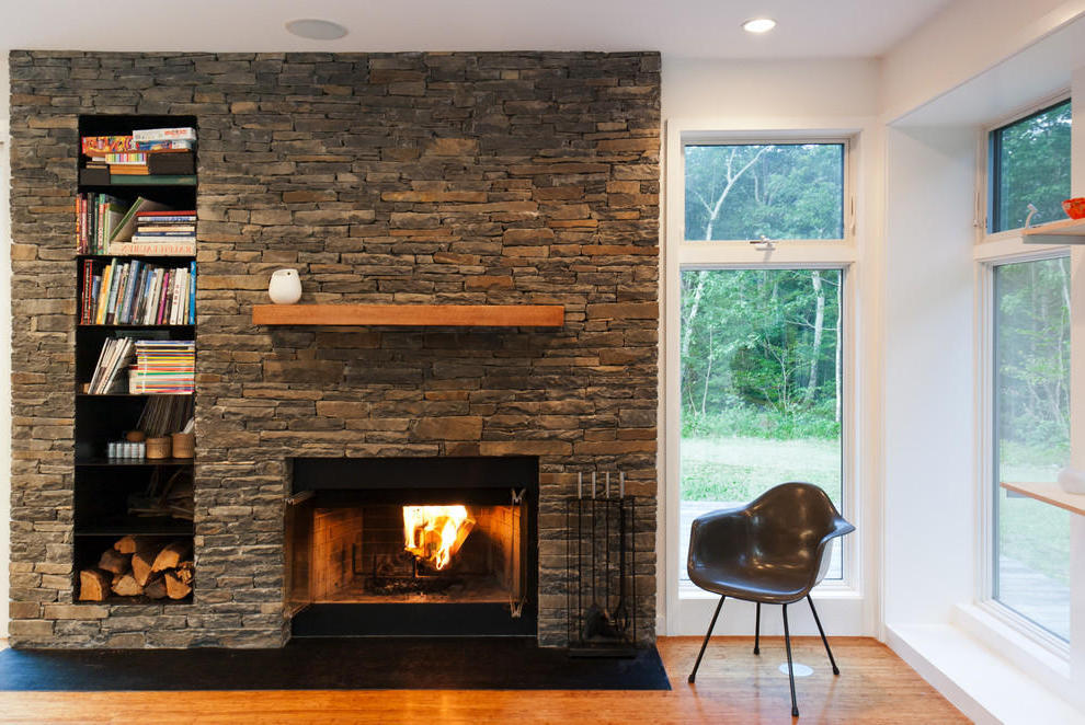Contemporary Stone Fireplace  (Image 3 of 12)