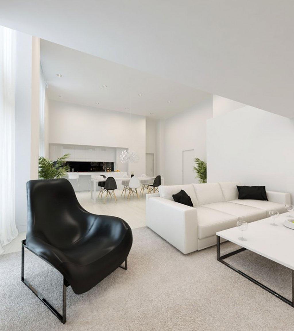 Minimalist Apartment In Black White Furniture (View 9 of 9)