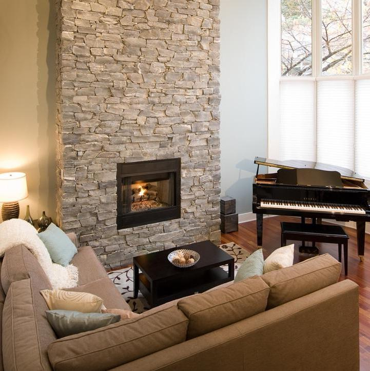 Modern Stone Fireplace (View 8 of 12)