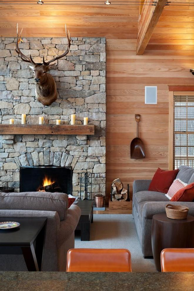 Rustic Living Room With Stone Fireplace (View 9 of 12)
