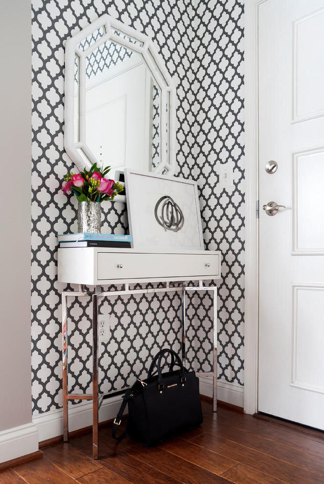 Small Entryway With Black White Decorative Wall (Image 12 of 13)